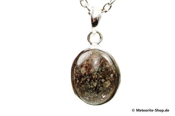 Stein-Meteorit-Anhänger (NWA 869 | Cabochon | 925er Silber) - 5,80 g
