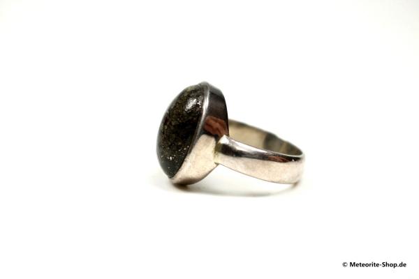 Stein-Meteorit-Ring (NWA 869 | Cabochon | Gr. 55 | 925er Silber) - 7,45 g