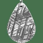 Eisen-Meteorit-Anhänger (Muonionalusta | Tropfen | Rhodiniert)