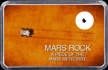 Mars Meteorit NWA 10628 (Motiv: Mars Rover Perseverance und Hubschrauber Ingenuity mit Fahrspur auf Marsoberfläche aus Vogelperspektive)