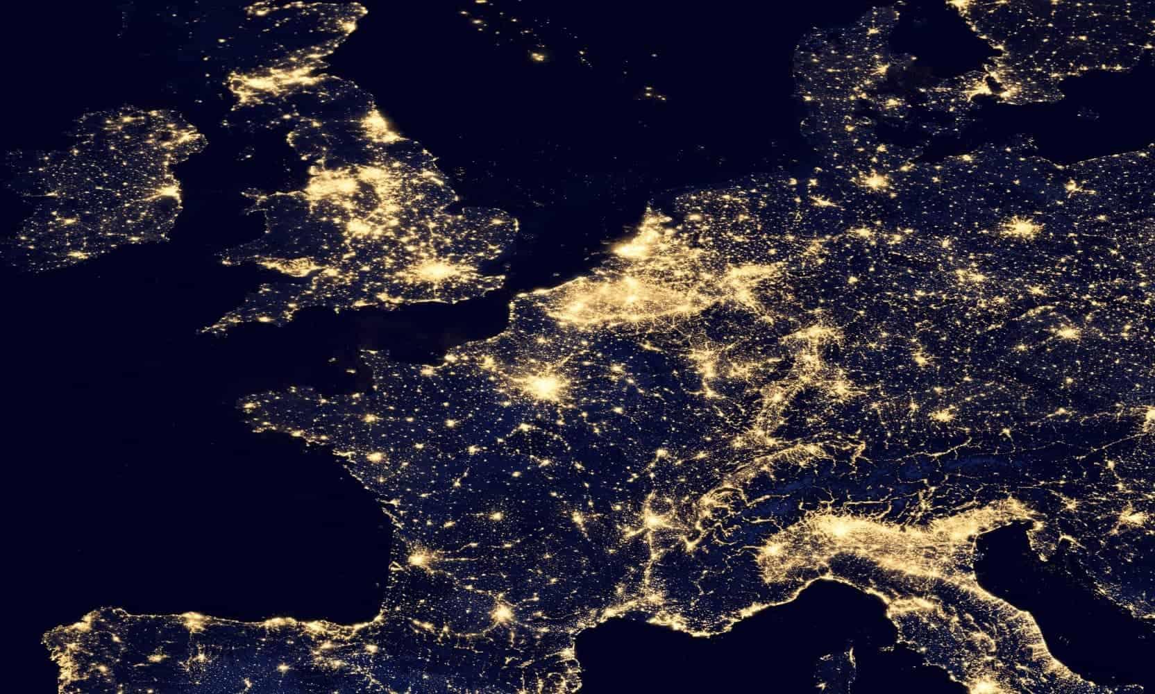 Übersicht der Lichtverschmutzung in Mitteleuropa