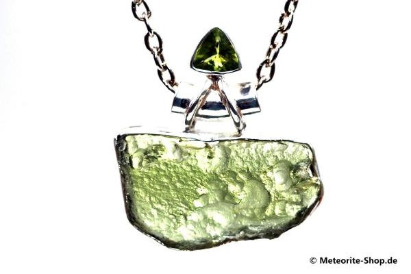 Moldavit-Anhänger (Tektit & Peridot | Natura | 925er Silber) - 5,40 g