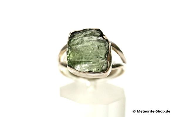 Moldavit-Ring (Tektit | Natura | Gr. 58 | 925er Silber ) - 3,75 g