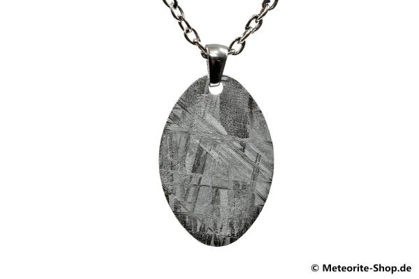 Eisen-Meteorit-Anhänger (Muonionalusta | Ellipse | Rhodiniert) Vorderansicht