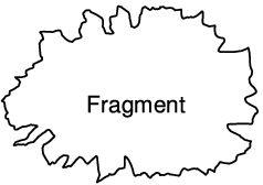 Schema eines Meteoriten-Fragments