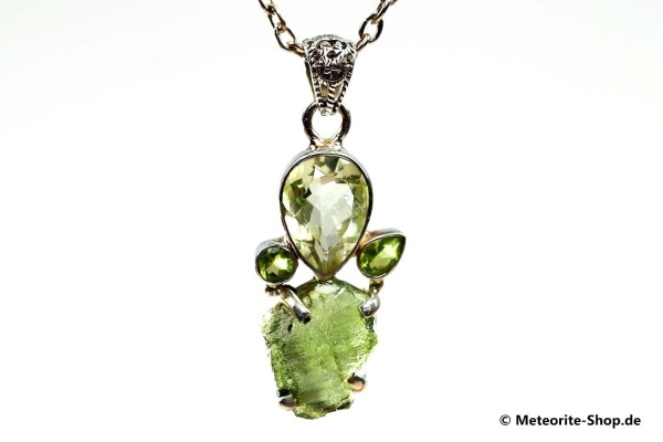 Multi-Stein-Anhänger (Moldavit, Peridot & grüner Amethyst | Natura | 925er Silber) - 5,60 g