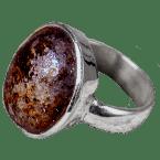Stein-Meteorit-Ringe (NWA 869 | Cabochon | 925er Silber)