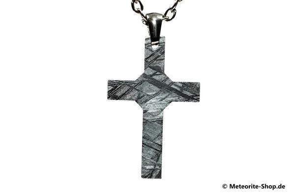 Eisen-Meteorit-Anhänger (Muonionalusta | Modernes Kreuz | Rhodiniert) Vorderansicht