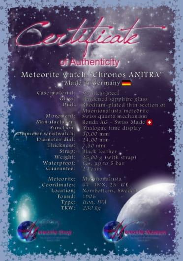 Zertifikat der Meteoriten-Uhr Chronos ANITRA
