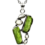 Multi-Stein-Anhänger (Tektit & Quarzkristall | Natura | 925er Silber)