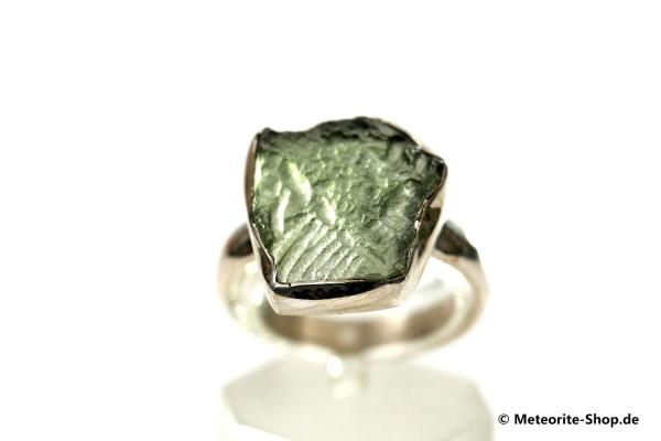 Moldavit-Ring (Tektit | Natura | Gr. 57 | 925er Silber ) - 4,05 g