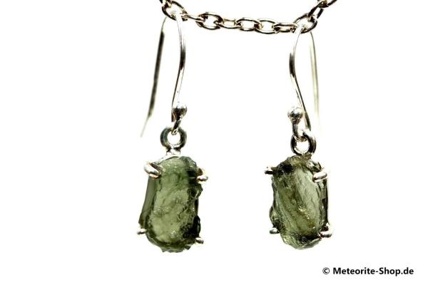 Moldavit-Ohrringe (Tektit | Natura | 925er Silber) - 2,75 g