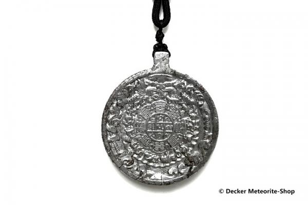Stein-Eisen-Meteorit-Anhänger (Seymchan | Scheibe | Jiugong Tibet Carved Amulett) - 33,20 g