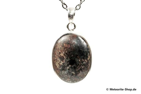 Stein-Meteorit-Anhänger (NWA 869 | Cabochon | 925er Silber) - 10,30 g
