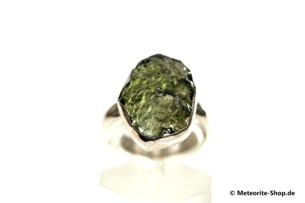 Moldavit-Ring (Tektit | Natura | Gr. 53 | 925er Silber ) - 3,80 g