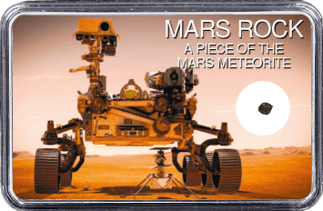 Mars Meteorit NWA 10628 (Motiv: Mars Rover Perseverance mit Hubschrauber Ingenuity in Frontansicht)