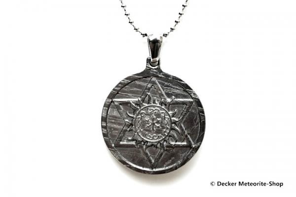 Stein-Eisen-Meteorit-Anhänger (Seymchan | Scheibe | Hexagramm Carved Amulett) - 7,60 g