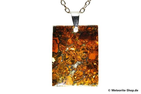 Stein-Eisen-Meteorit-Anhänger (Jepara | Scheibe | 925er Silber) - 6,10 g