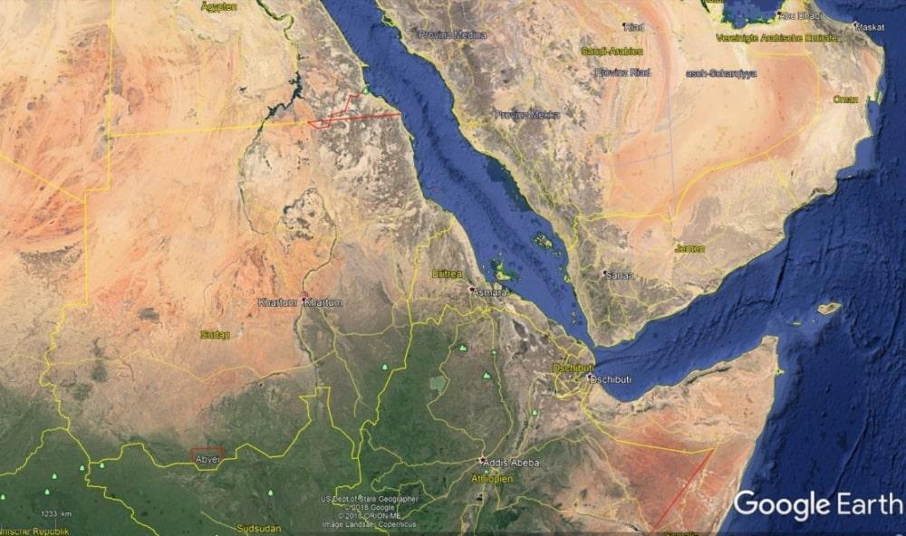 Übersicht des Sudans, dem Land des Almahata Sitta Meteoritenfalls