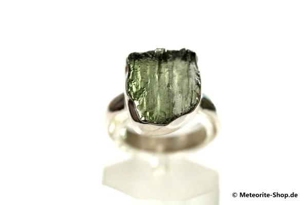 Moldavit-Ring (Tektit   Natura   Gr. 55   925er Silber ) - 3,95 g