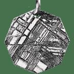 Eisen-Meteorit-Anhänger (Muonionalusta | Achteck | Rhodiniert)