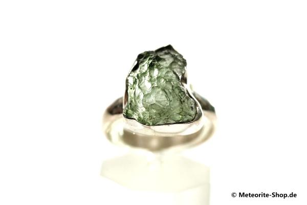 Moldavit-Ring (Tektit | Natura | Gr. 58 | 925er Silber ) - 4,20 g