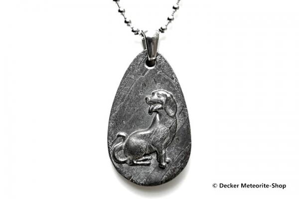 Stein-Eisen-Meteorit-Anhänger (Seymchan   Scheibe   Hund Carved Amulett) - 9,70 g