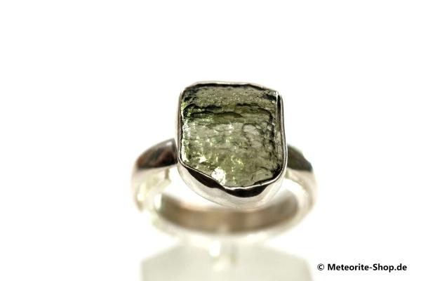 Moldavit-Ring (Tektit | Natura | Gr. 62 | 925er Silber ) - 4,15 g