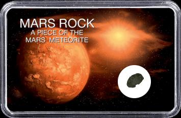 Mars Meteorit NWA 6963 (Motiv: Mars mit Sonne und Weltall)