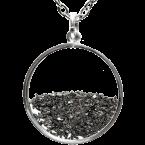 Eisen-Meteorit-Medaillon (Muonionalusta | Meteoritenstaub | 925er Silber & Gold)