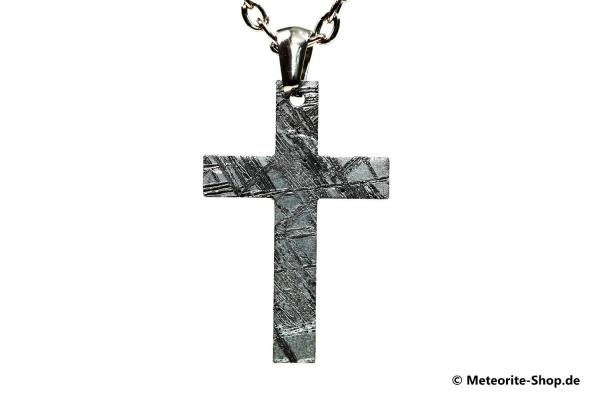 Eisen-Meteorit-Anhänger (Muonionalusta | Traditionelles Kreuz | Rhodiniert) Vorderansicht
