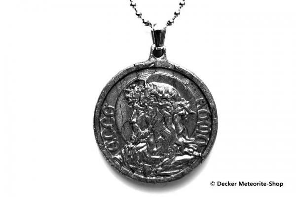 Stein-Eisen-Meteorit-Anhänger (Seymchan | Scheibe | Jesus Christus Carved Amulett) - 17,70 g