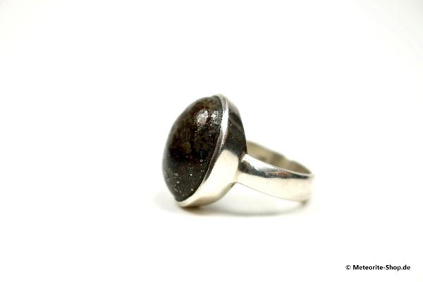 Stein-Meteorit-Ring (NWA 869 | Cabochon | Gr. 55 | 925er Silber) - 9,10 g