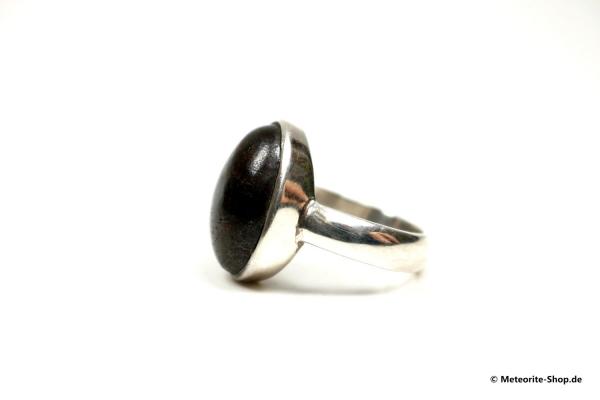 Stein-Meteorit-Ring (NWA 869 | Cabochon | Gr. 58 | 925er Silber) - 8,75 g