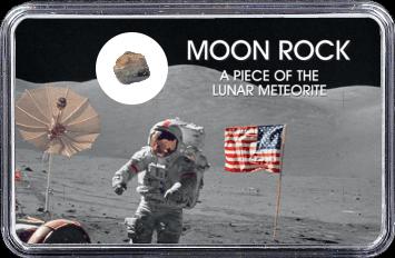 Mond Meteorit NWA 11407 (Motiv: Astronaut mit US-Flagge I)