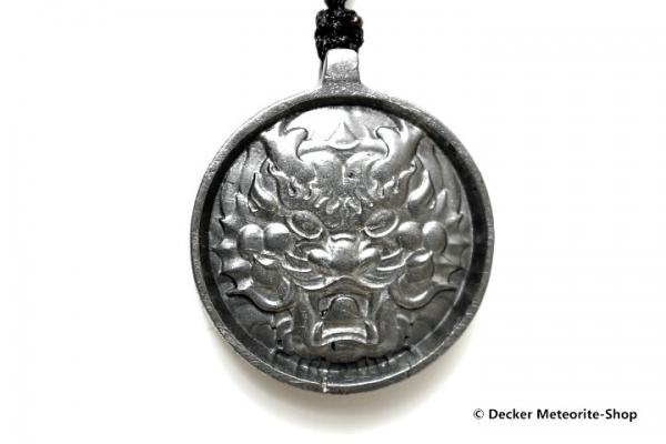 Stein-Eisen-Meteorit-Anhänger (Seymchan | Scheibe | Dragon King Carved Amulett) - 20,30 g