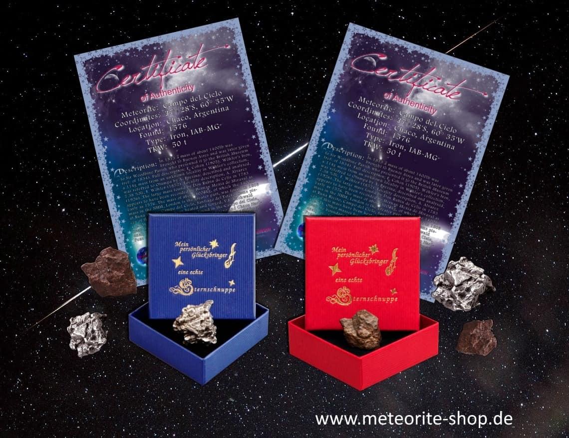 Echte Sternschnuppe in Form von echten Meteoriten und personalisiertem Zertifikat zum Kaufen