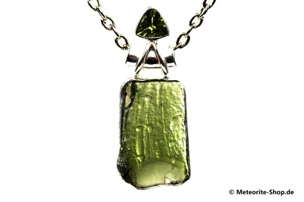 Moldavit-Anhänger (Tektit & Peridot | Natura | 925er Silber ) - 5,10 g