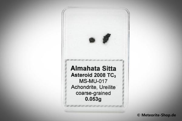 Almahata Sitta Meteorit (MS-MU-017: Ureilit > pyroxen-reich, grobkörnig) - 0,053 g