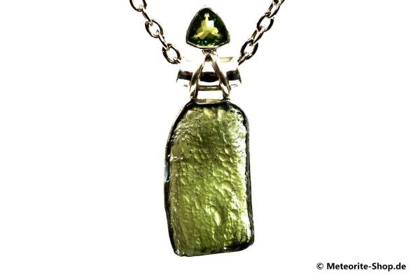 Moldavit-Anhänger (Tektit & Peridot   Natura   925er Silber) - 4,70 g