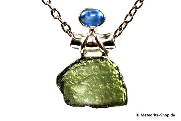 Moldavit-Anhänger (Tektit & Kyanit | Natura | 925er Silber) - 4,20 g