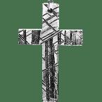 Eisen-Meteorit-Anhänger (Muonionalusta | Kreuz | Rhodiniert)