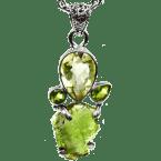 Multi-Stein-Anhänger (Tektit, Olivin (Peridot) & Quarzkristall | Natura | 925er Silber)