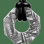 Eisen-Meteorit-Anhänger (Muonionalusta   Achteck-Donut   Gr. Ø   Rhodiniert)