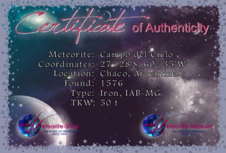 Zertifikat des Campo del Cielo Meteoriten