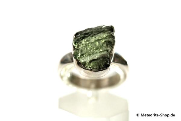 Moldavit-Ring (Tektit | Natura | Gr. 55 | 925er Silber ) - 3,90 g