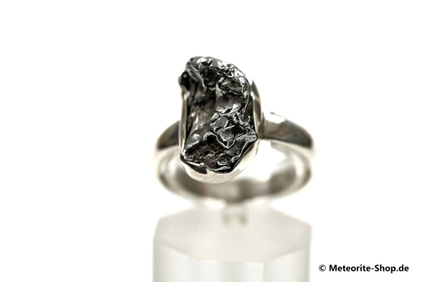 Eisen-Meteorit-Ring (Campo del Cielo | Gefasst | Gr. 58 | 925er Silber) - 5,90 g