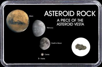 Vesta Meteorit Sariçiçek (Motiv: Vesta mit Ceres, Erdmond, Merkur und Mars)