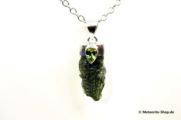 Moldavit-Anhänger (Tektit & Peridot | Natura | 925er Silber) - 4,35 g