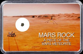Mars Meteorit NWA 6963 (Motiv: Mars Rover Perseverance und Hubschrauber Ingenuity im Flug vor Marsgebirge)
